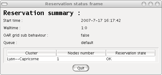 Resources allocation frame – Reservation status