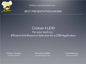 Best presentation award to Cristian Klein