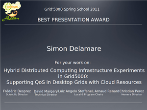 Best presentation award to Simon Delamare