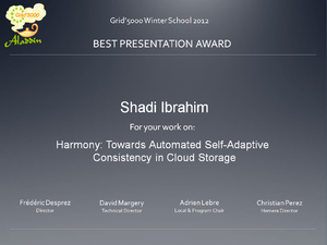 Best presentation award to Shadi Ibrahim